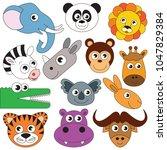 safari animals faces elements... | Shutterstock .eps vector #1047829384