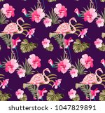 summer tropical pattern with... | Shutterstock .eps vector #1047829891