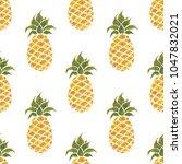 pineapples. watercolor hand... | Shutterstock . vector #1047832021