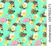 summer tropical pattern with... | Shutterstock .eps vector #1047832171