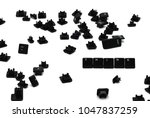 Small photo of think. The word think, composed of keys from the keyboard, with scattered next keys from the keyboard, on a white background. concept - to make the right decision, to control thoughts.