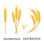 set of  wheat in 3d isolated... | Shutterstock . vector #1047841924