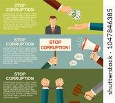 vector stop corruption concept. ...   Shutterstock .eps vector #1047846385