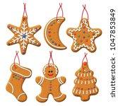 vector gingerbread set.... | Shutterstock .eps vector #1047853849