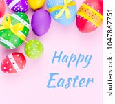 happy easter greeting card with ... | Shutterstock . vector #1047867751