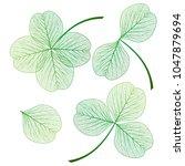 set leaf clover . vector... | Shutterstock .eps vector #1047879694