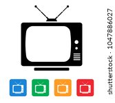 television  tv box icon | Shutterstock .eps vector #1047886027
