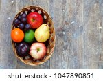 mixed fruits of apples  lime ... | Shutterstock . vector #1047890851