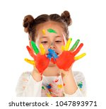 funny girl with hands and face... | Shutterstock . vector #1047893971