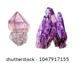 watercolor crystals.  amethyst... | Shutterstock . vector #1047917155
