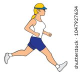 a  young healthy female jogger... | Shutterstock .eps vector #1047927634