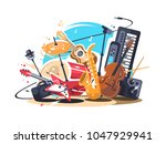 musical instruments on stage.... | Shutterstock .eps vector #1047929941