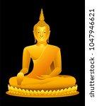 thai golden buddha statue... | Shutterstock .eps vector #1047946621