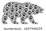 bear collage organized of paw...   Shutterstock .eps vector #1047948259
