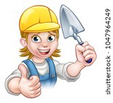 a cartoon female woman builder...