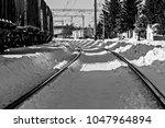 railway in ukraine in the... | Shutterstock . vector #1047964894