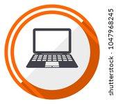 computer laptop orange flat... | Shutterstock .eps vector #1047968245