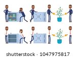 stands at the open safe full of ... | Shutterstock .eps vector #1047975817