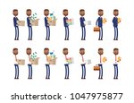 carries boxes  gets a job ... | Shutterstock .eps vector #1047975877