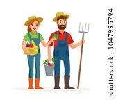happy farmers vector flat... | Shutterstock .eps vector #1047995794