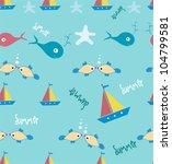 marine seamless pattern | Shutterstock .eps vector #104799581