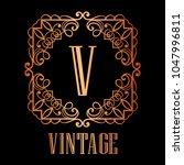 vintage ornamental logo... | Shutterstock .eps vector #1047996811
