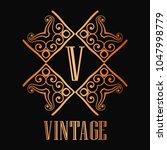 vintage ornamental logo... | Shutterstock .eps vector #1047998779