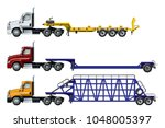 vector semi trucks set isolated ... | Shutterstock .eps vector #1048005397
