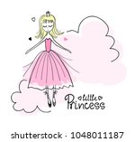 little princess in the clouds.... | Shutterstock .eps vector #1048011187