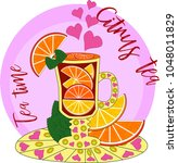 citrus tea  cooked with love.... | Shutterstock .eps vector #1048011829