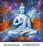 seated buddha in a lotus pose   ... | Shutterstock . vector #1048028254