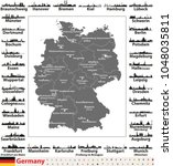 germany map with state capitals ... | Shutterstock .eps vector #1048035811
