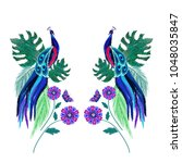 colored exotic birds  peacock ... | Shutterstock .eps vector #1048035847