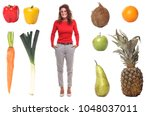 woman with lovely fruit | Shutterstock . vector #1048037011