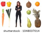 woman with lovely fruit | Shutterstock . vector #1048037014