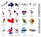 world flags   map pack 5   Shutterstock .eps vector #104805194