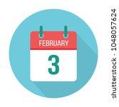 february 3 calendar icon flat....   Shutterstock .eps vector #1048057624
