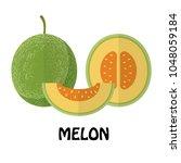 vector illustration flat melon... | Shutterstock .eps vector #1048059184