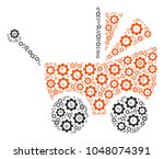 baby carriage collage of tooth...   Shutterstock .eps vector #1048074391