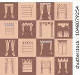 lambrequin.classic curtains . ...   Shutterstock . vector #1048079254