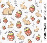 happy easter seamless pattern...   Shutterstock .eps vector #1048128811