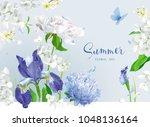vintage vector bouquet blooming ... | Shutterstock .eps vector #1048136164