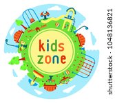 outdoor round card with kids... | Shutterstock .eps vector #1048136821