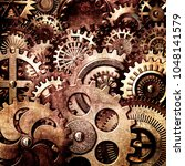 3d metallic gears background | Shutterstock . vector #1048141579