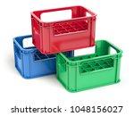 empty  plastic storage crates... | Shutterstock . vector #1048156027
