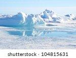 pressure ridge and melt water... | Shutterstock . vector #104815631