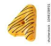 glazed donut font 3d rendering...   Shutterstock . vector #1048158931