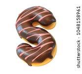 glazed donut font 3d rendering... | Shutterstock . vector #1048158961