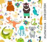 animal pattern with australian...   Shutterstock . vector #1048184584