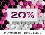 white paper cut 20  symbol on... | Shutterstock . vector #1048211839